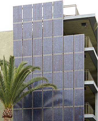 Building integrated solar cell panels on an affordable housing project in downtown Santa Monica.