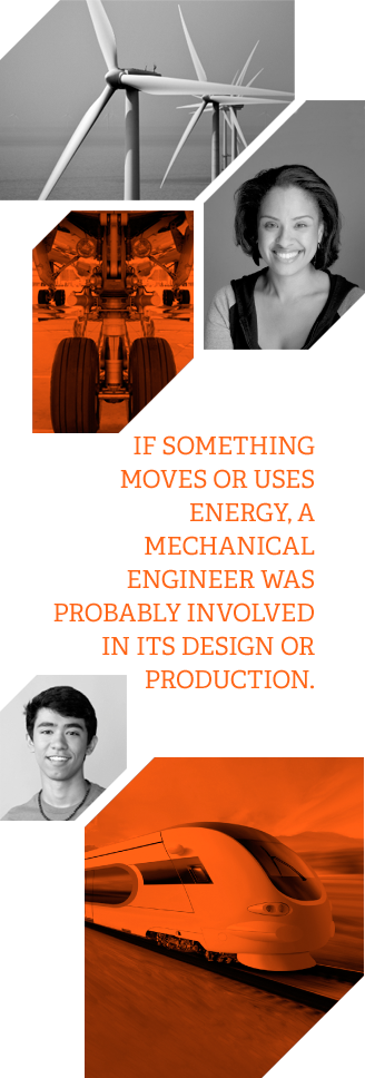 IF SOMETHING MOVES OR USES ENERGY, A MECHANICAL ENGINEER WAS PROBABLY INVOLVED IN ITS DESIGN OR PRODUCTION.